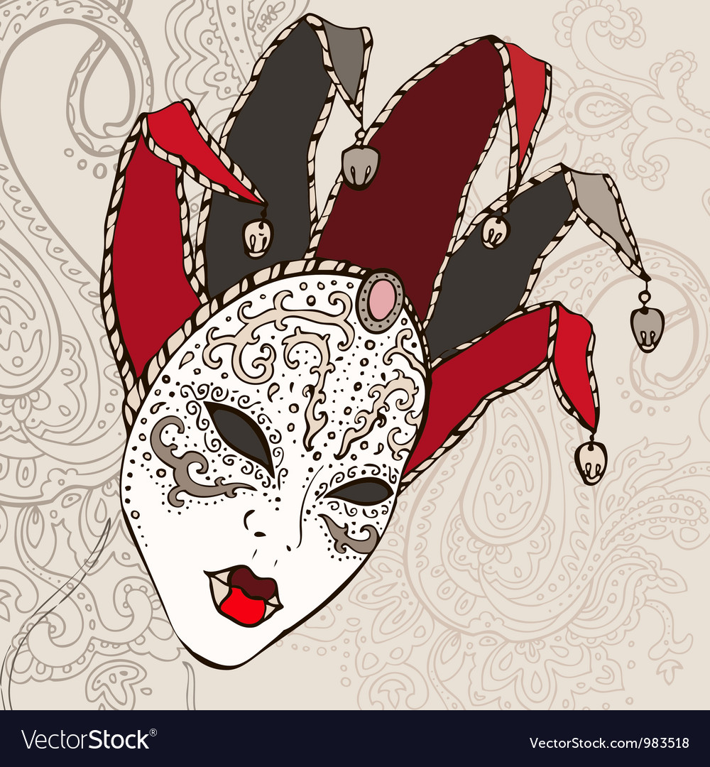 Hand drawn venetian carnival mask vector | Price: 1 Credit (USD $1)
