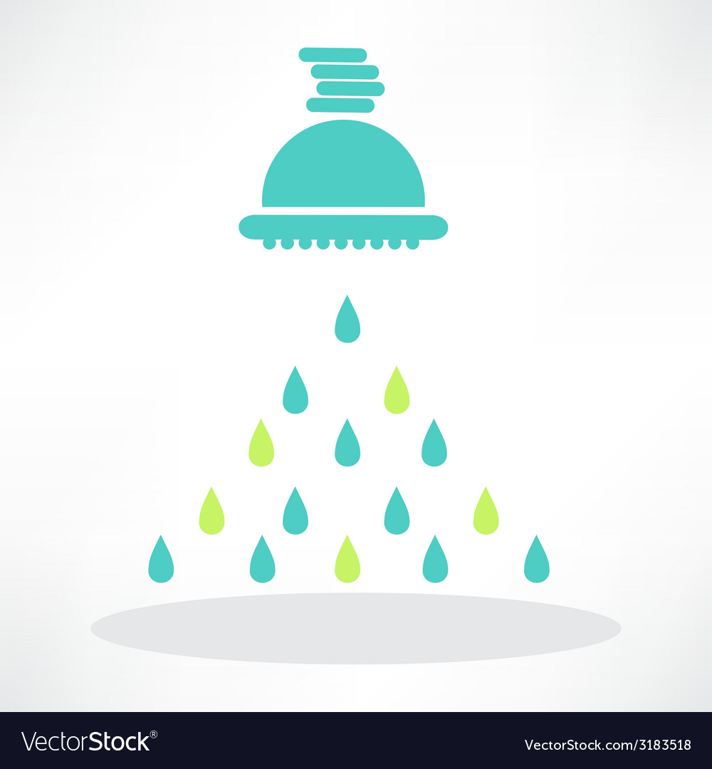 Isolated shower head in frame with water drops vector | Price: 1 Credit (USD $1)