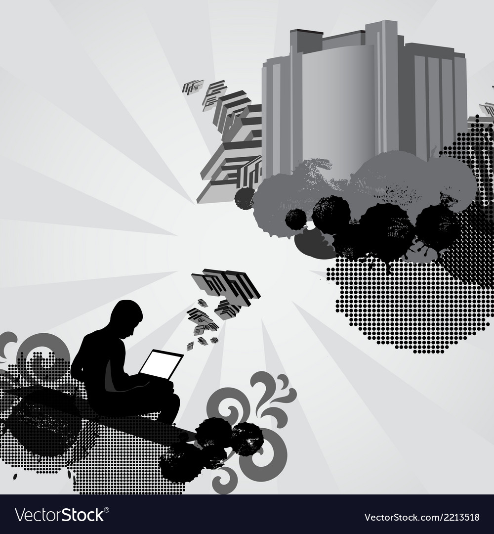 Man works on laptop computer and creates something vector | Price: 1 Credit (USD $1)