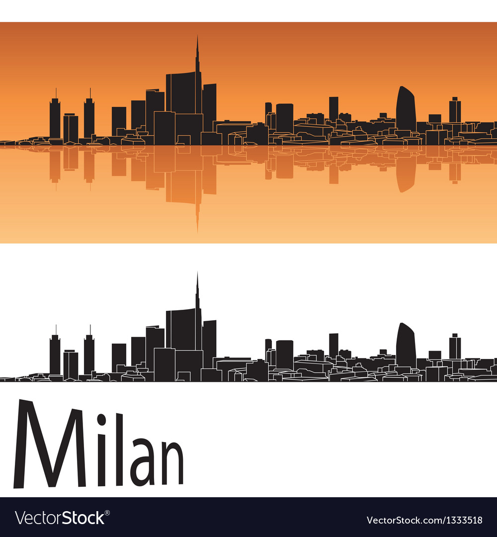 Milan skyline in orange background vector | Price: 1 Credit (USD $1)
