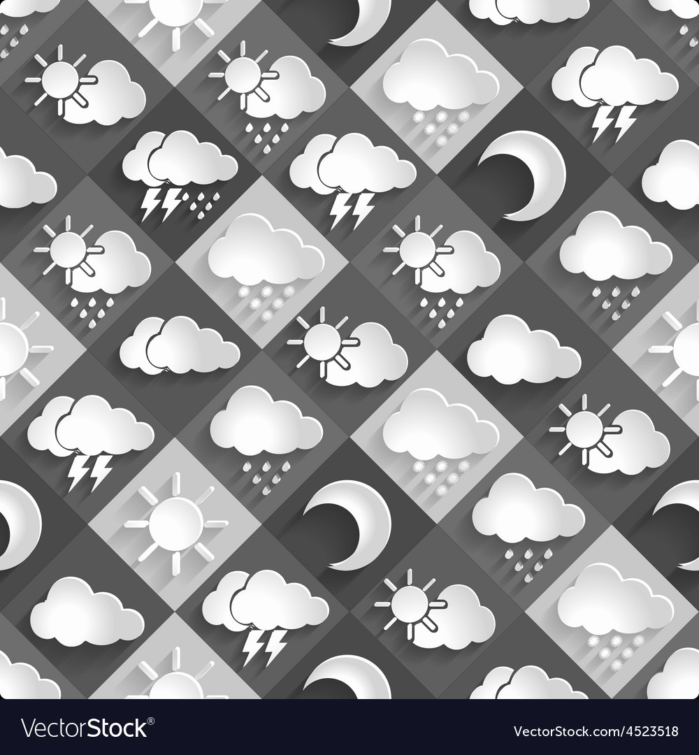Seamless pattern of weather icons paper vector | Price: 1 Credit (USD $1)