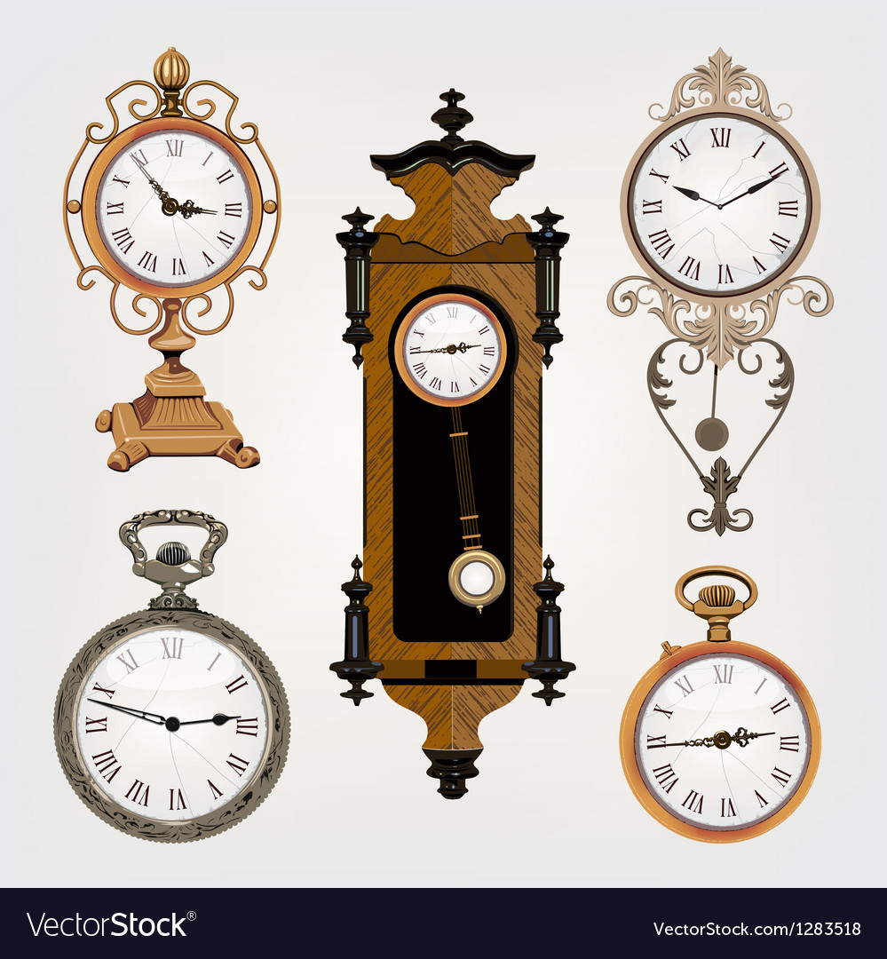 Set of vintage clocks vector | Price: 3 Credit (USD $3)