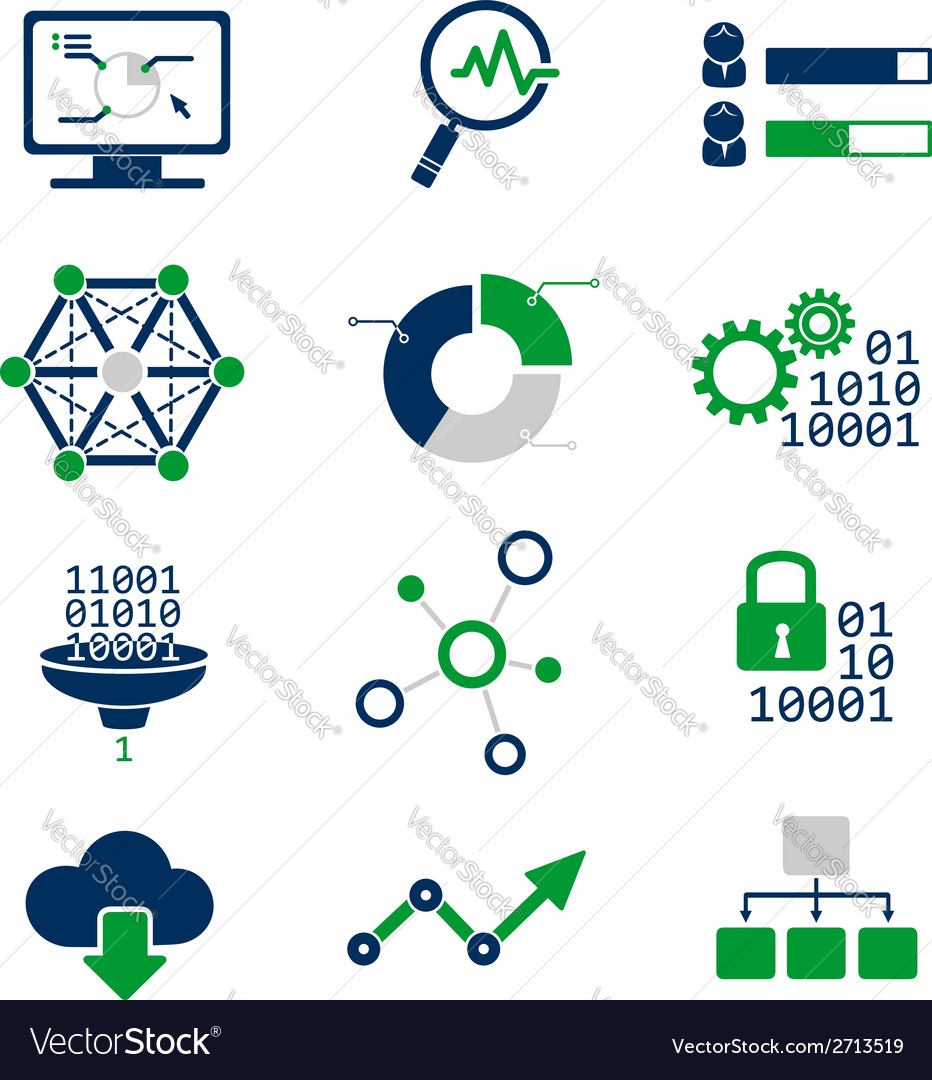 Data analytic icons set vector | Price: 1 Credit (USD $1)