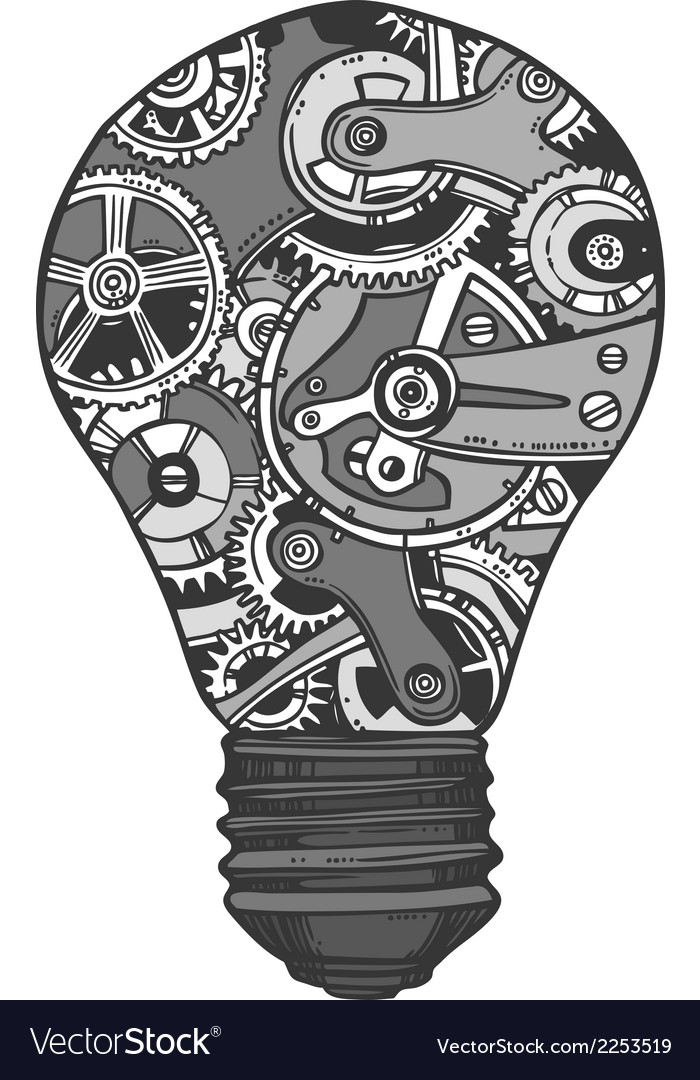 Gears lightbulb sketch vector | Price: 1 Credit (USD $1)