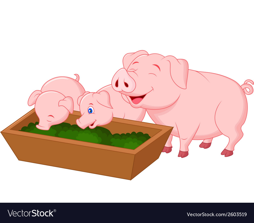 Happy farm pig family cartoon vector | Price: 1 Credit (USD $1)
