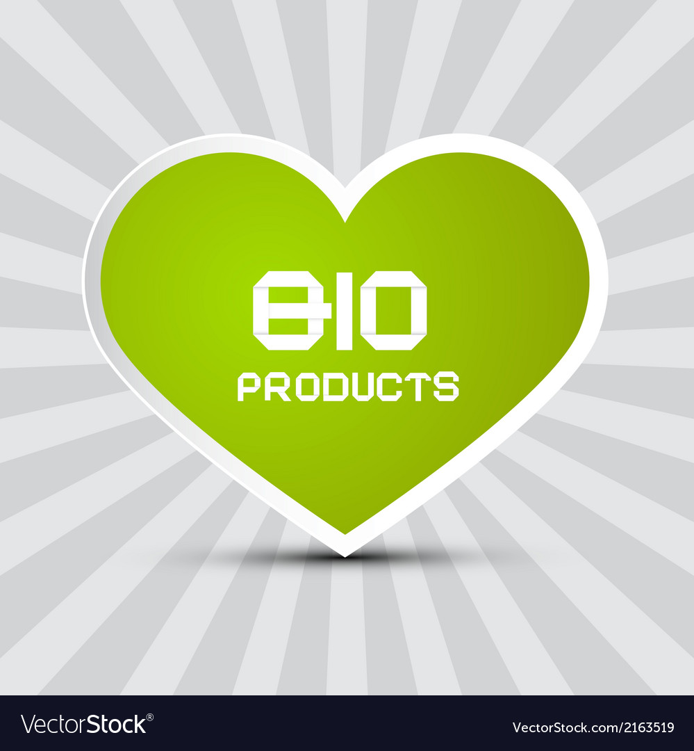 Love bio products theme with green paper heart on vector | Price: 1 Credit (USD $1)