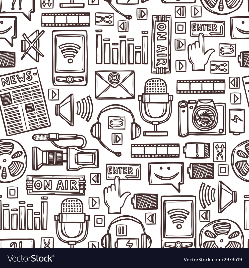Media sketch seamless pattern vector | Price: 1 Credit (USD $1)
