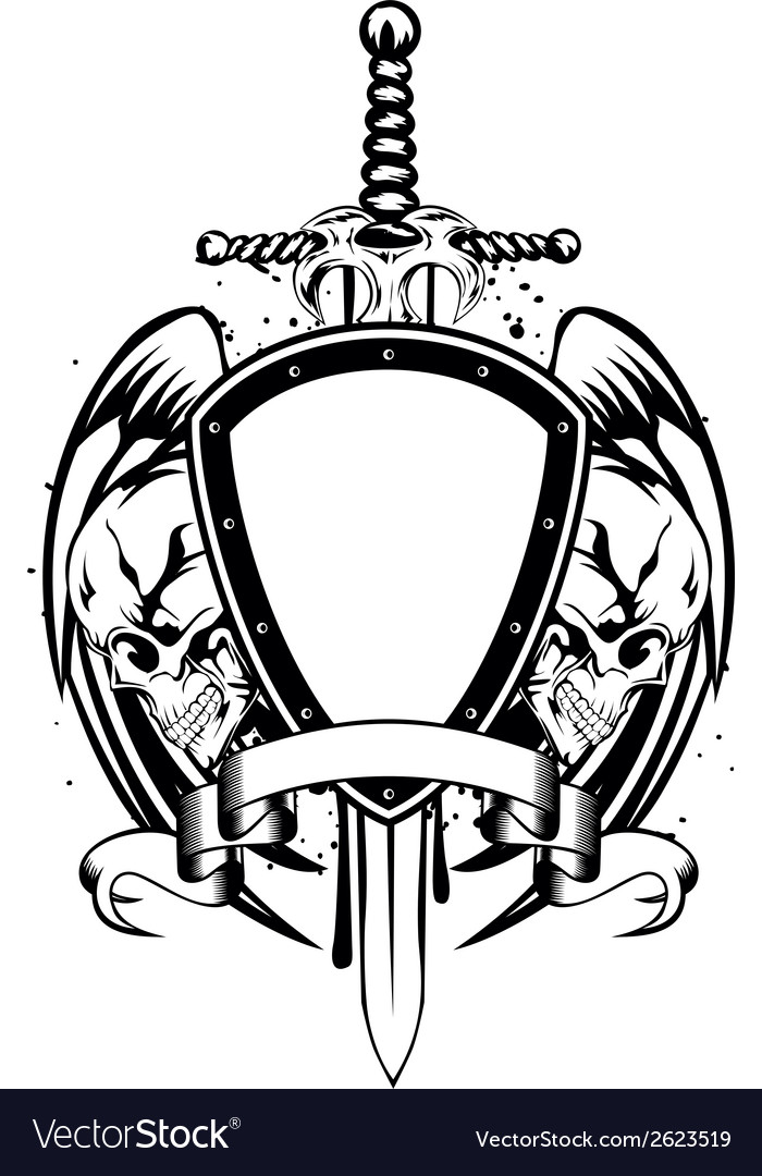 Skulls sword frame vector | Price: 1 Credit (USD $1)