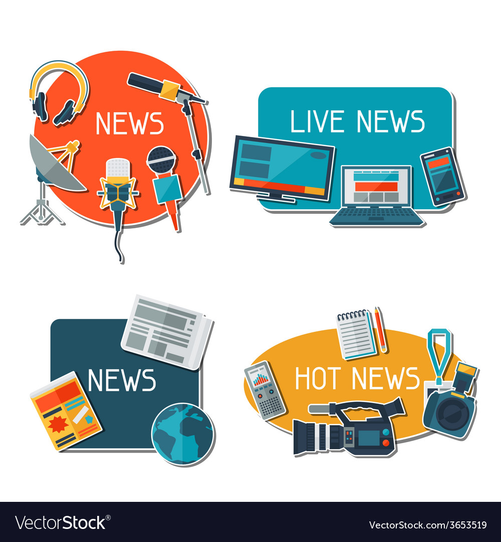 Stickers with journalism icons vector | Price: 1 Credit (USD $1)