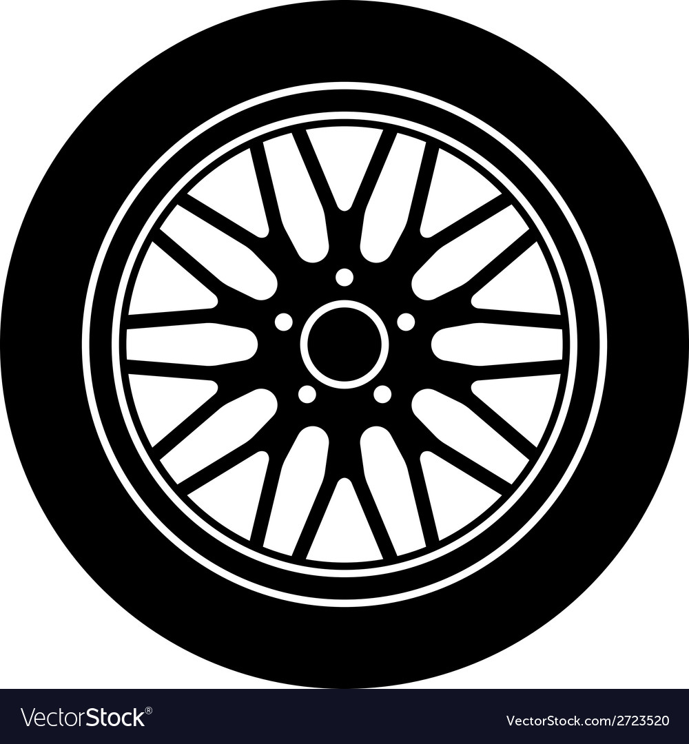Car aluminum wheel black white symbol vector | Price: 1 Credit (USD $1)