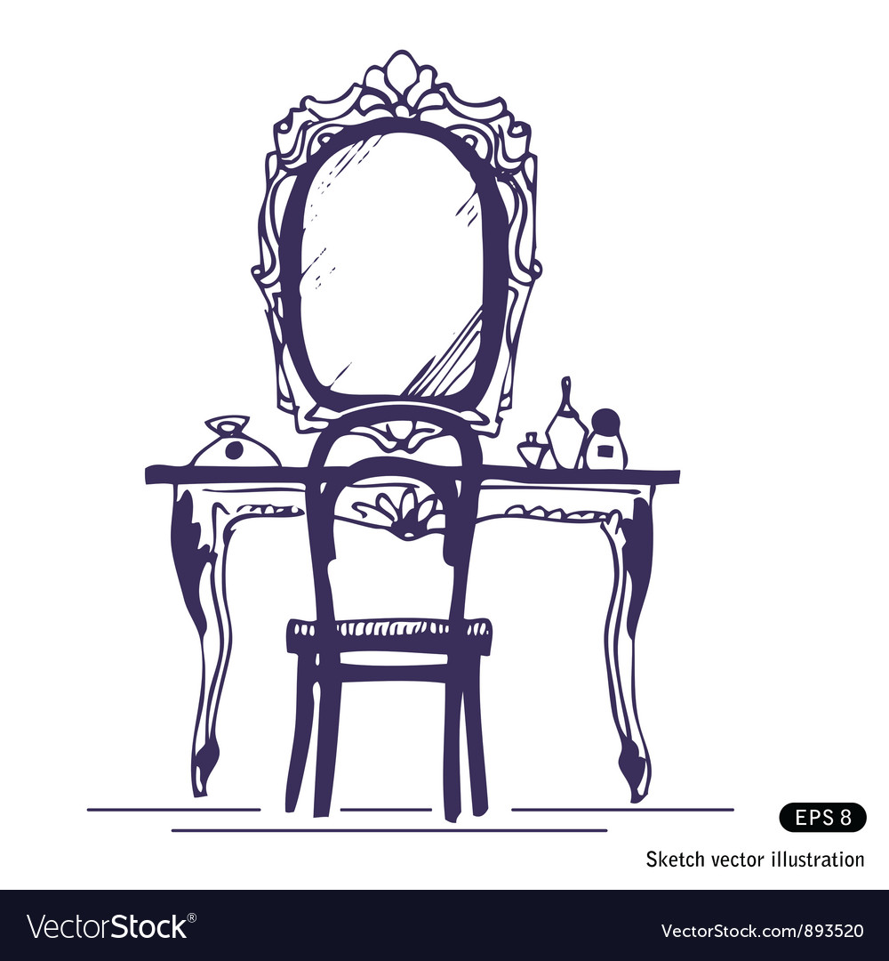 Dressing table and mirror vector | Price: 1 Credit (USD $1)