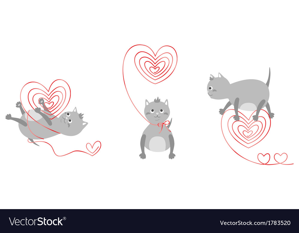 Kittens with red hearts vector | Price: 1 Credit (USD $1)
