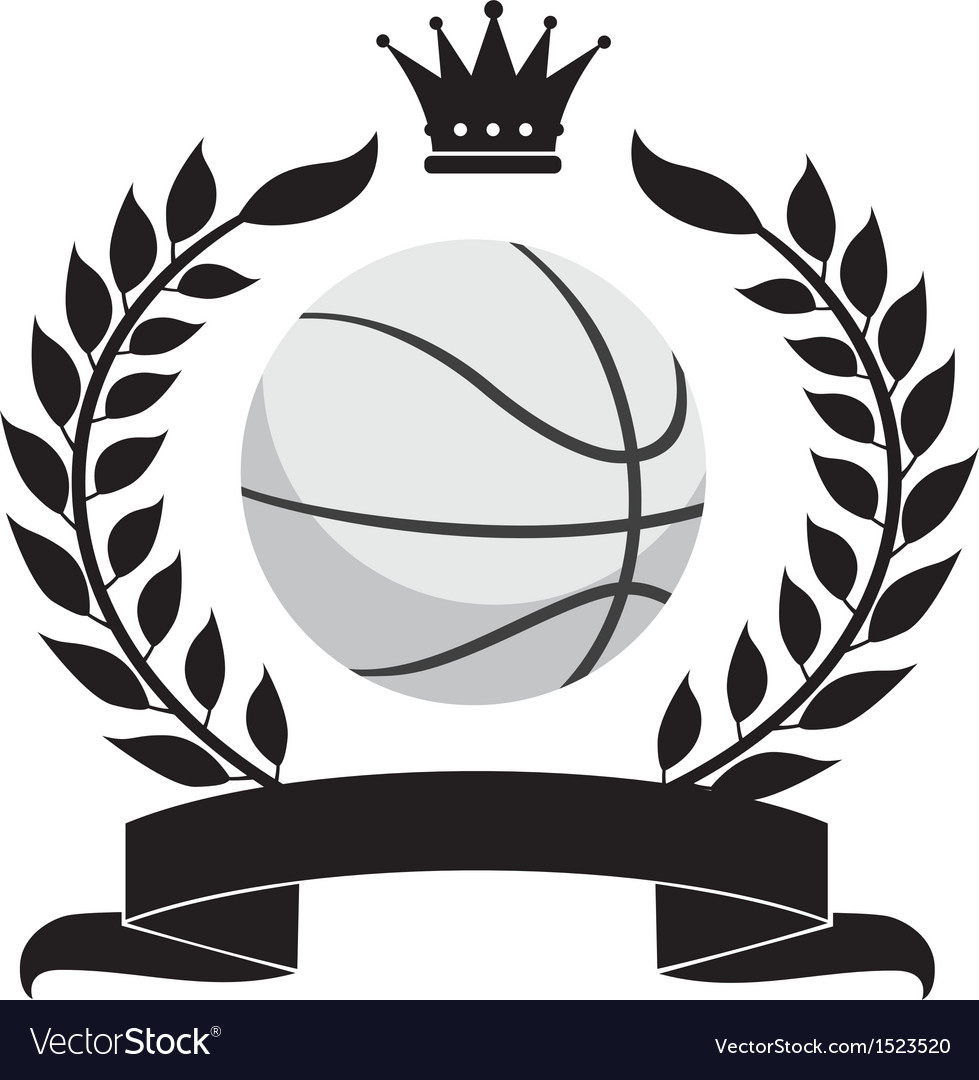 Logo with a wreath and a basketball ball vector | Price: 1 Credit (USD $1)