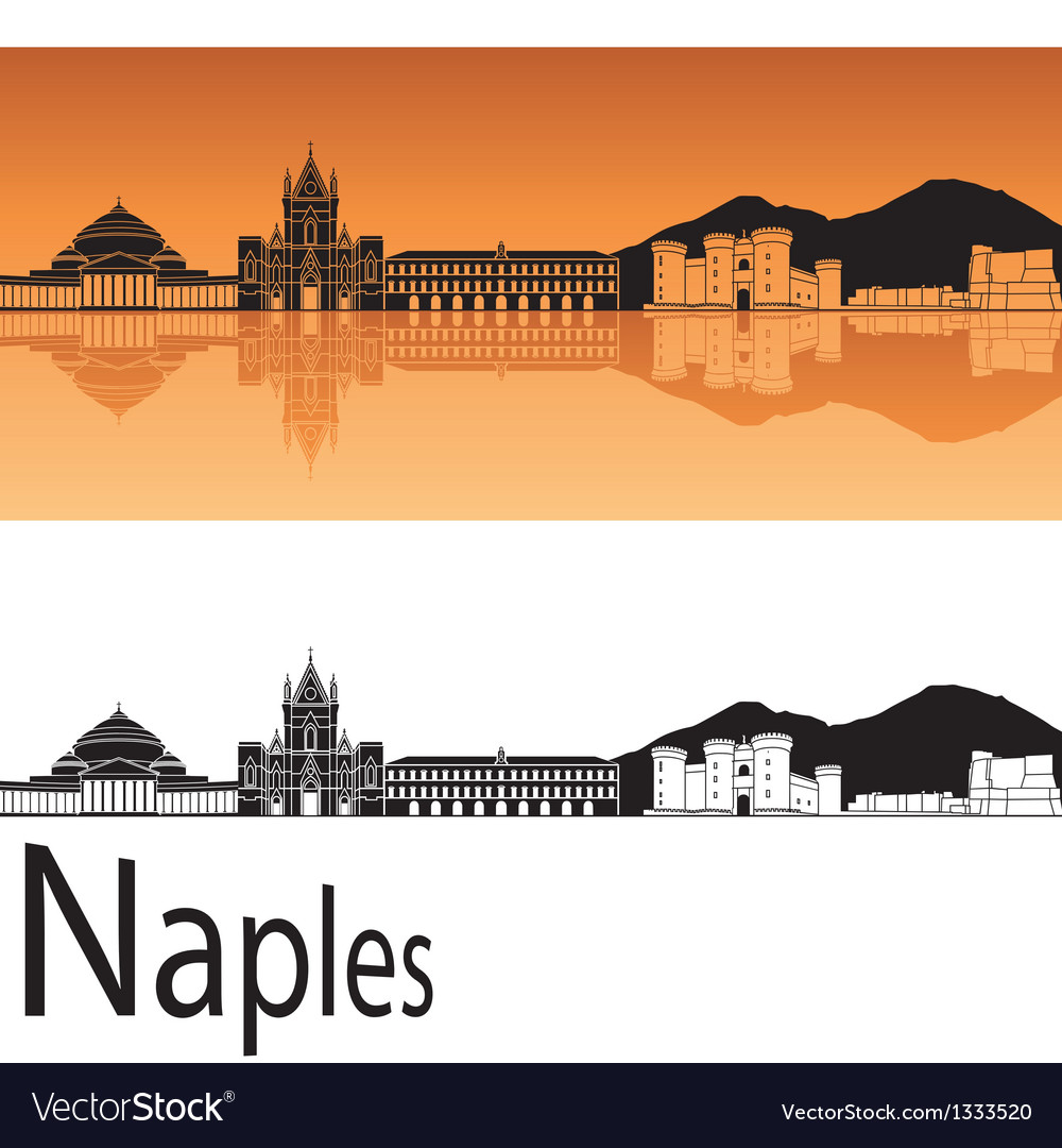 Naples skyline in orange background vector | Price: 1 Credit (USD $1)