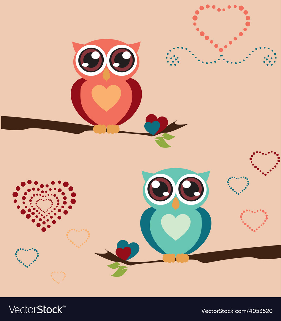 Owl love print vector | Price: 1 Credit (USD $1)