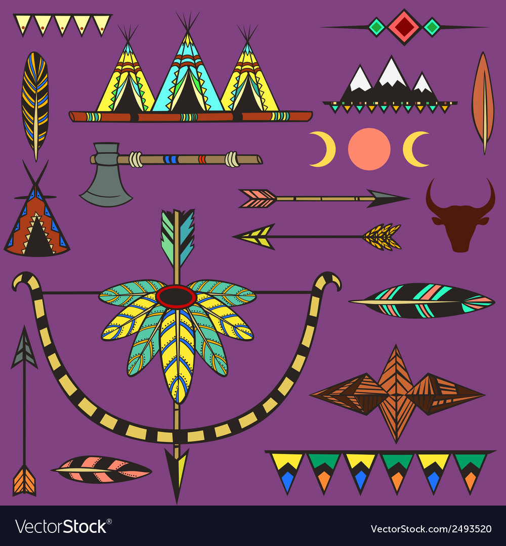 Set of ethnic american indians objects vector | Price: 1 Credit (USD $1)