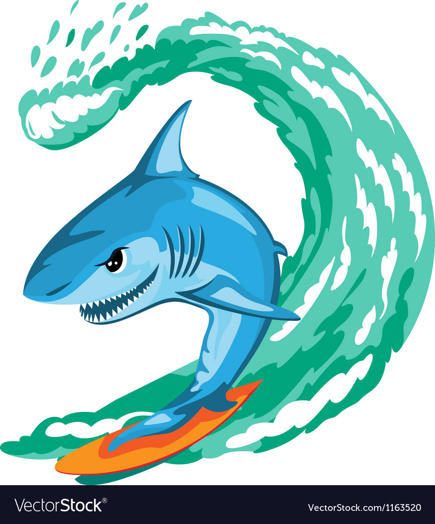 Shark surfer vector | Price: 1 Credit (USD $1)