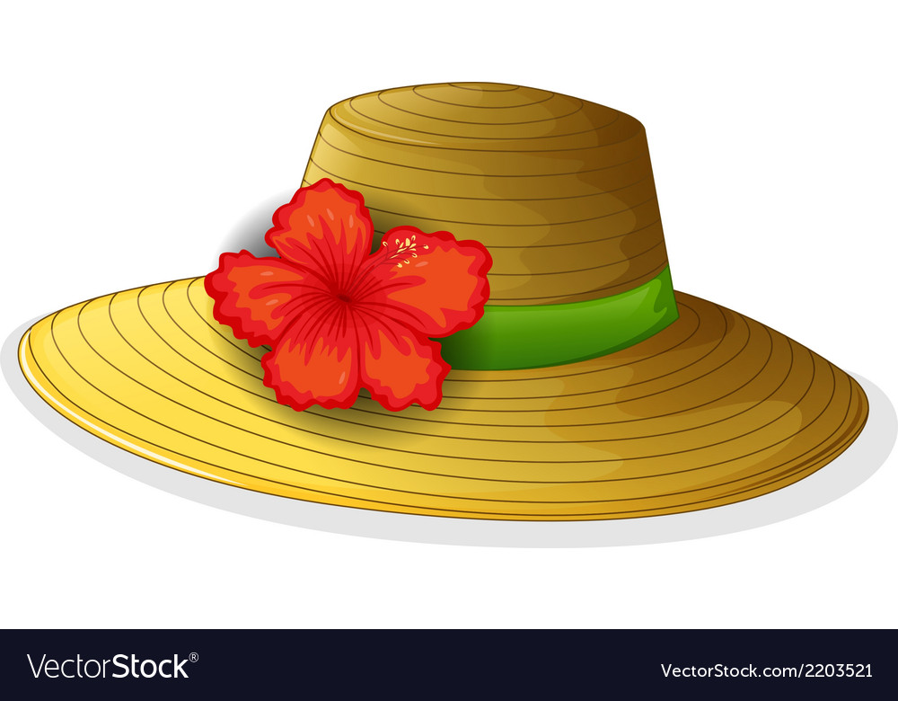 A brown fashion hat with a flower vector | Price: 1 Credit (USD $1)