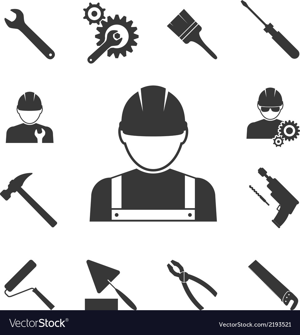 Construction worker icons vector | Price: 1 Credit (USD $1)