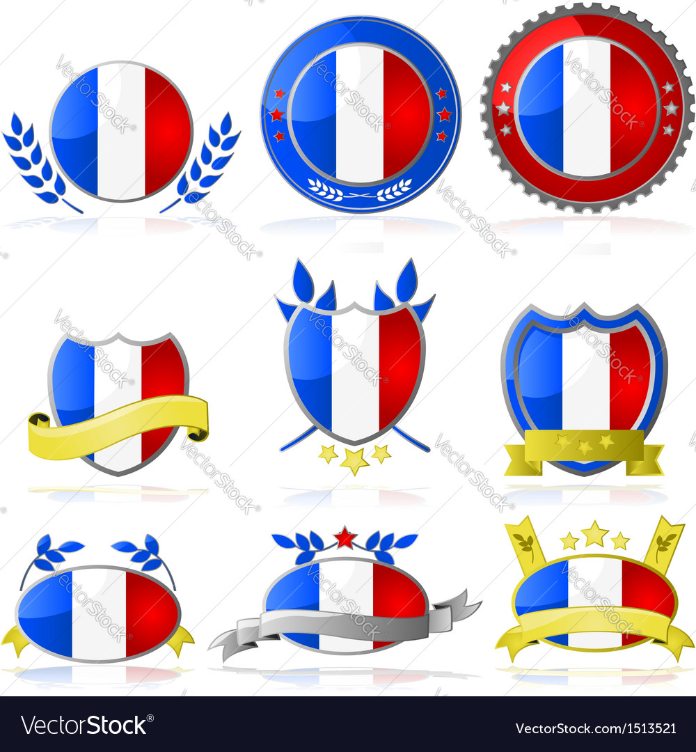 France badges vector | Price: 1 Credit (USD $1)