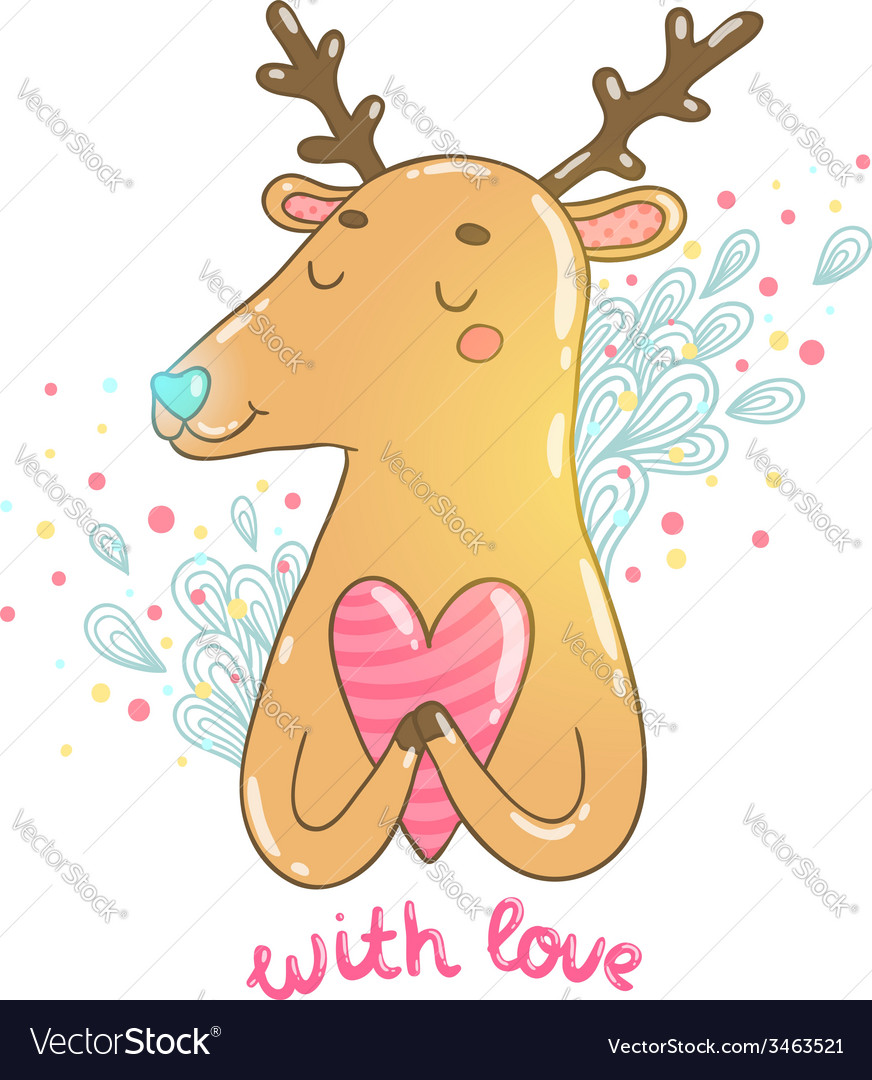 Happy valentines day cartoon hand drawn deer vector | Price: 1 Credit (USD $1)