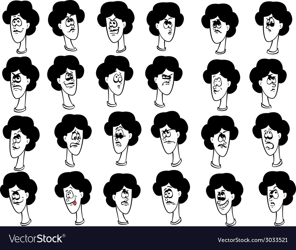 Set of cartoon female faces with emotional vector | Price: 1 Credit (USD $1)