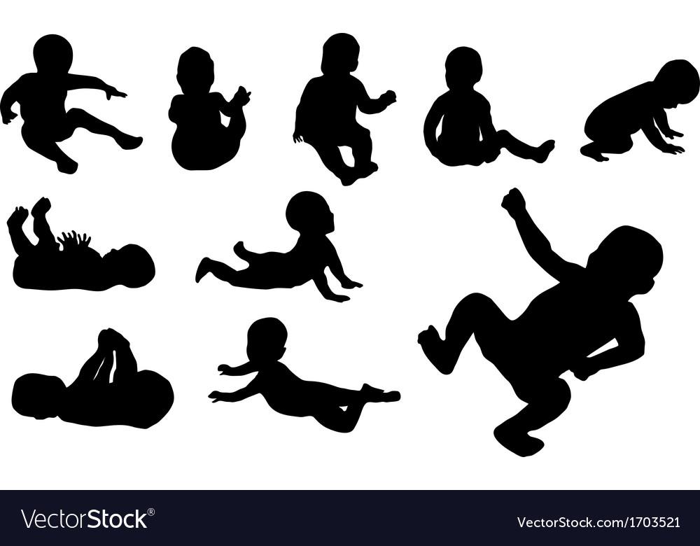 Set of ten baby silhouette vector | Price: 1 Credit (USD $1)