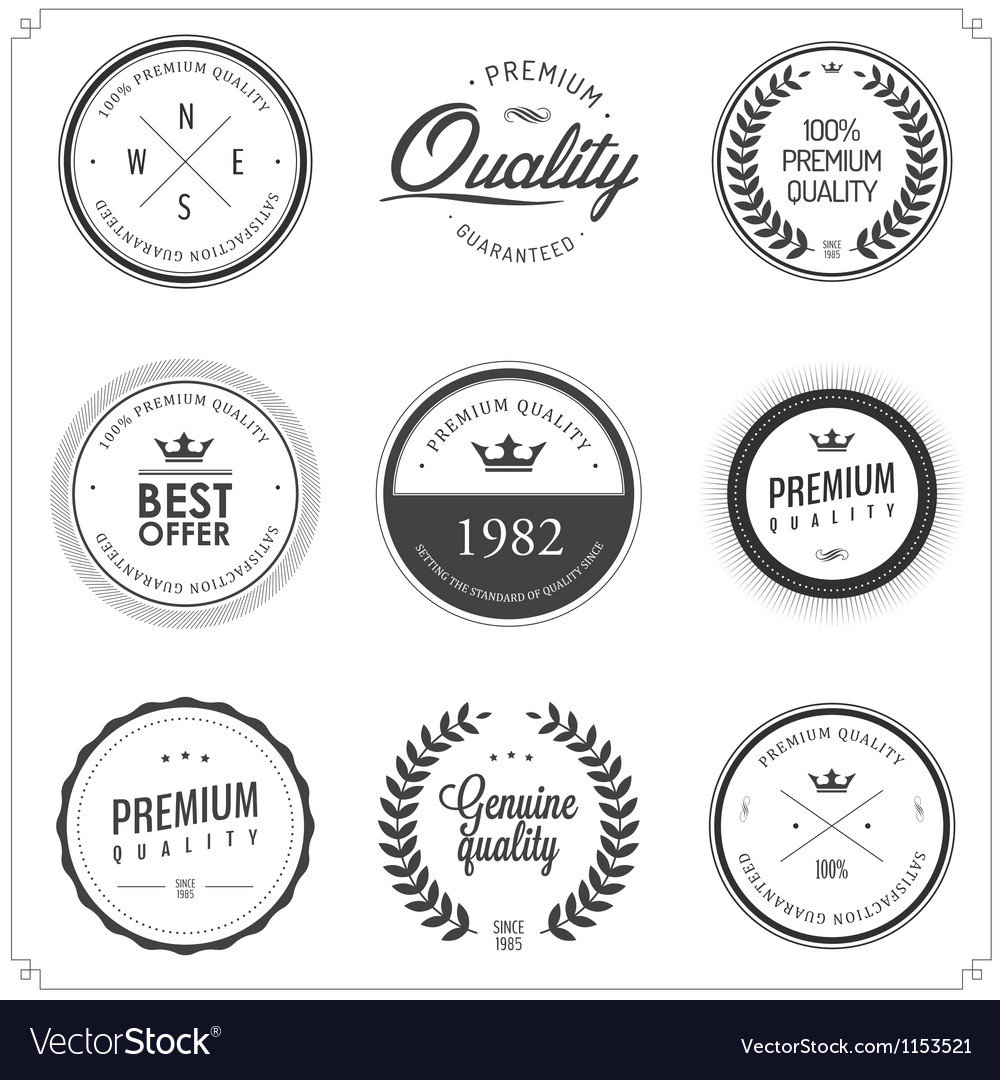 Set of vintage monochrome retail labels and badges vector | Price: 1 Credit (USD $1)