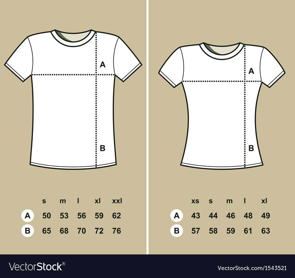 T-shirt sizes vector | Price: 1 Credit (USD $1)