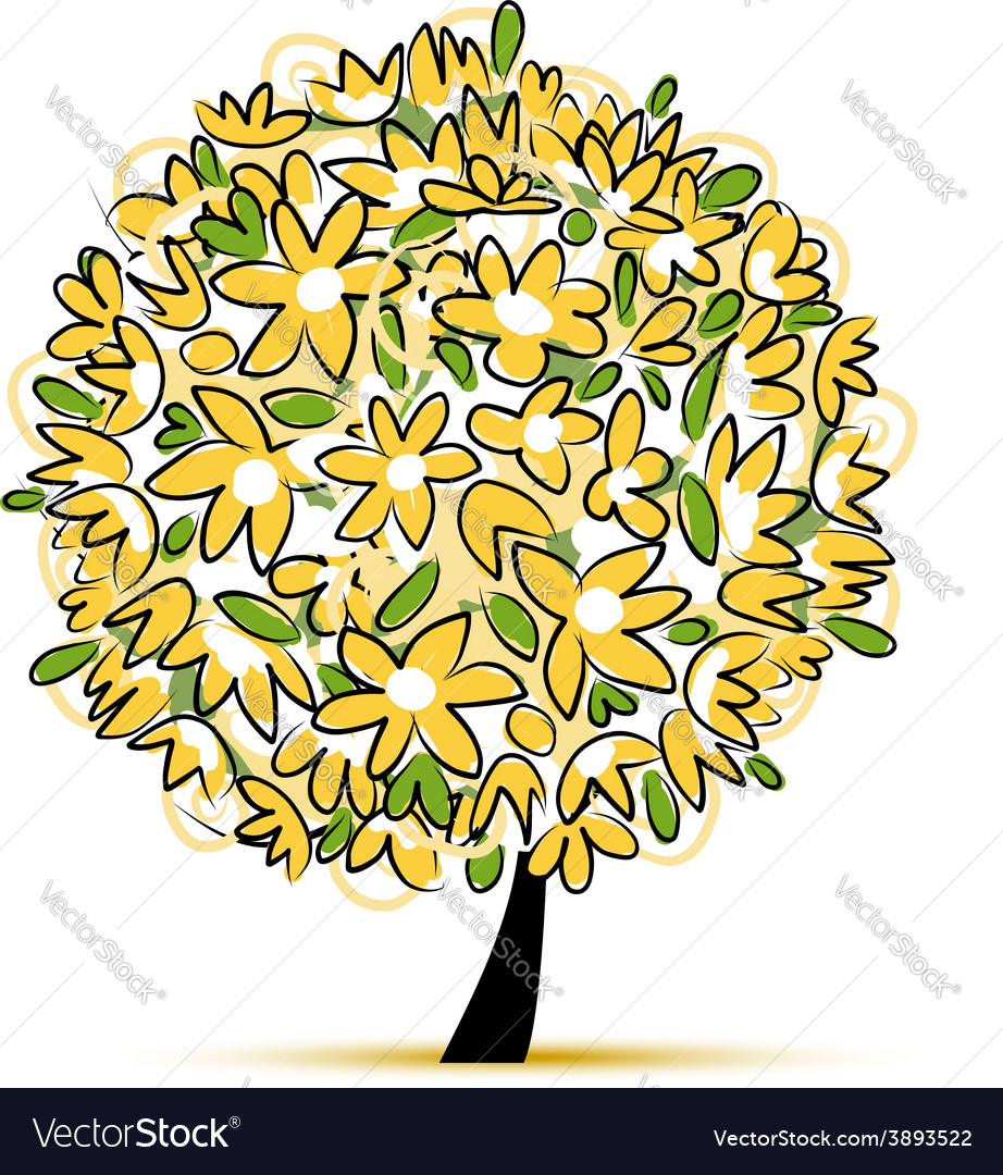 Art floral tree yellow for your design vector | Price: 1 Credit (USD $1)