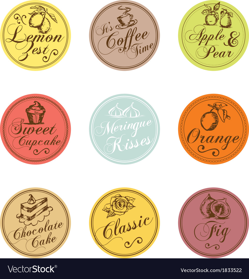 Bakery shop colorful tags collection vector | Price: 1 Credit (USD $1)