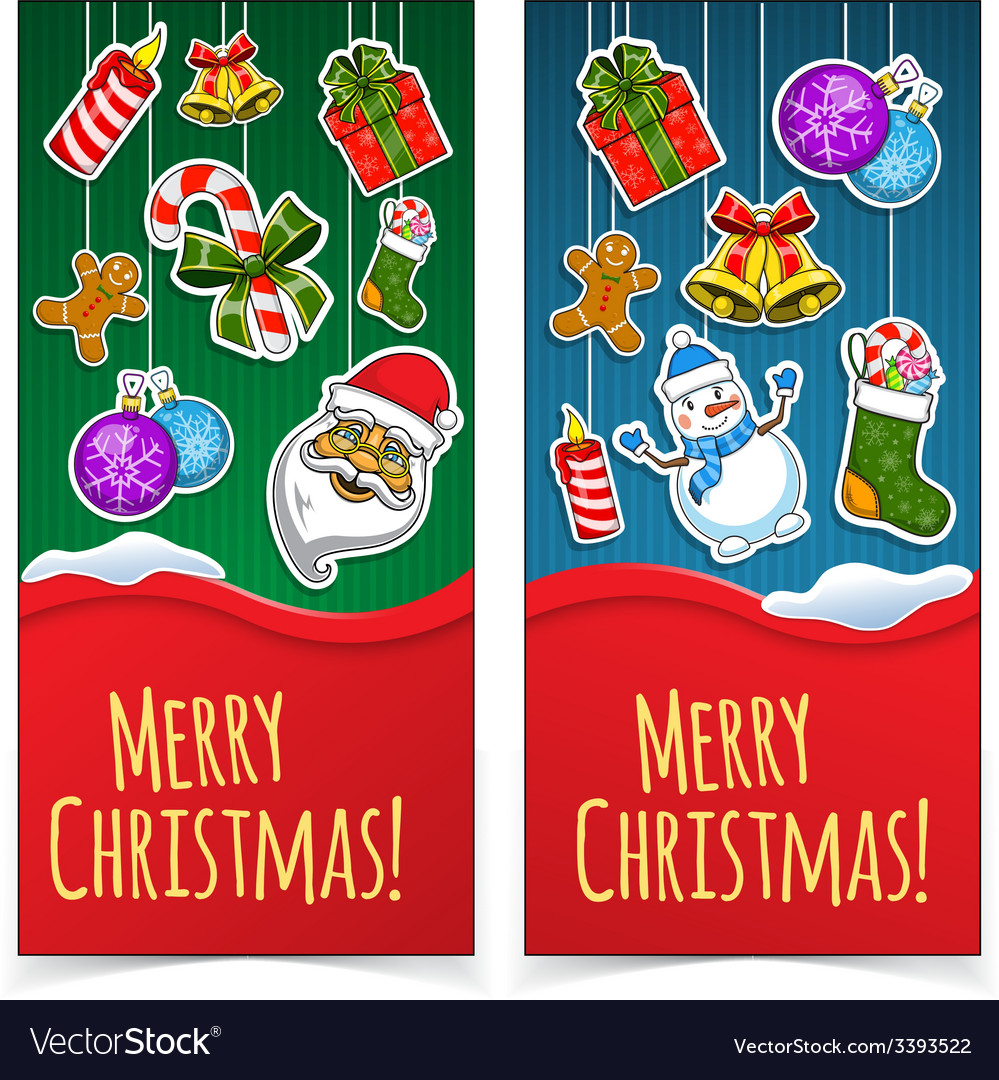 Christmas banners presents and decorations on vector | Price: 1 Credit (USD $1)