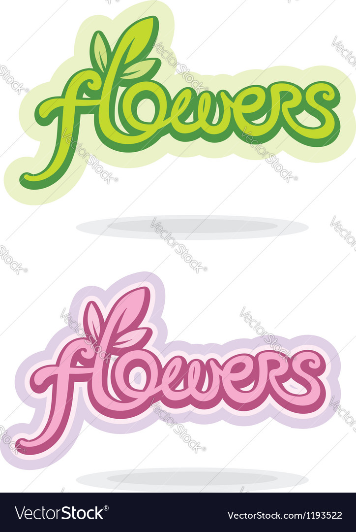 Flowers handwritten word vector | Price: 1 Credit (USD $1)