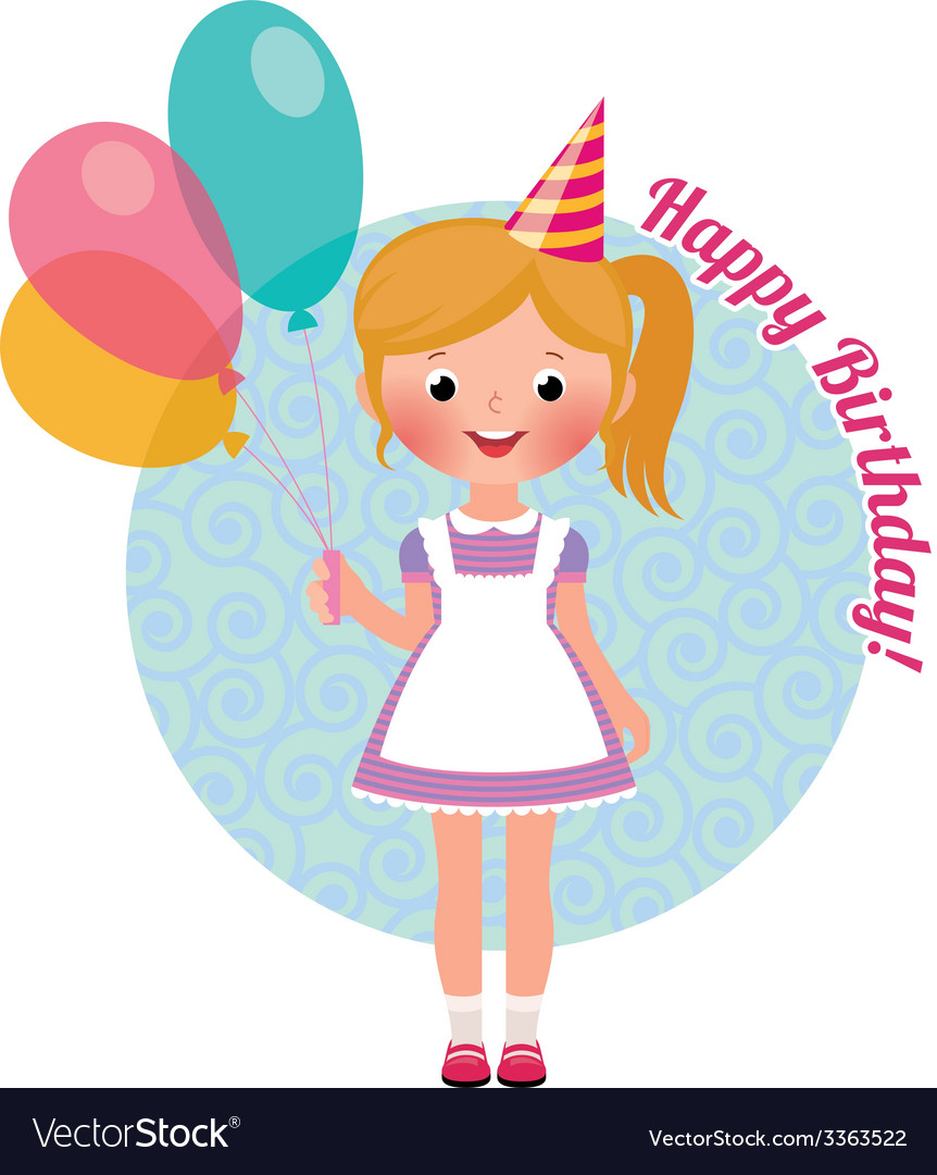 Girl with balloons birthday vector | Price: 1 Credit (USD $1)