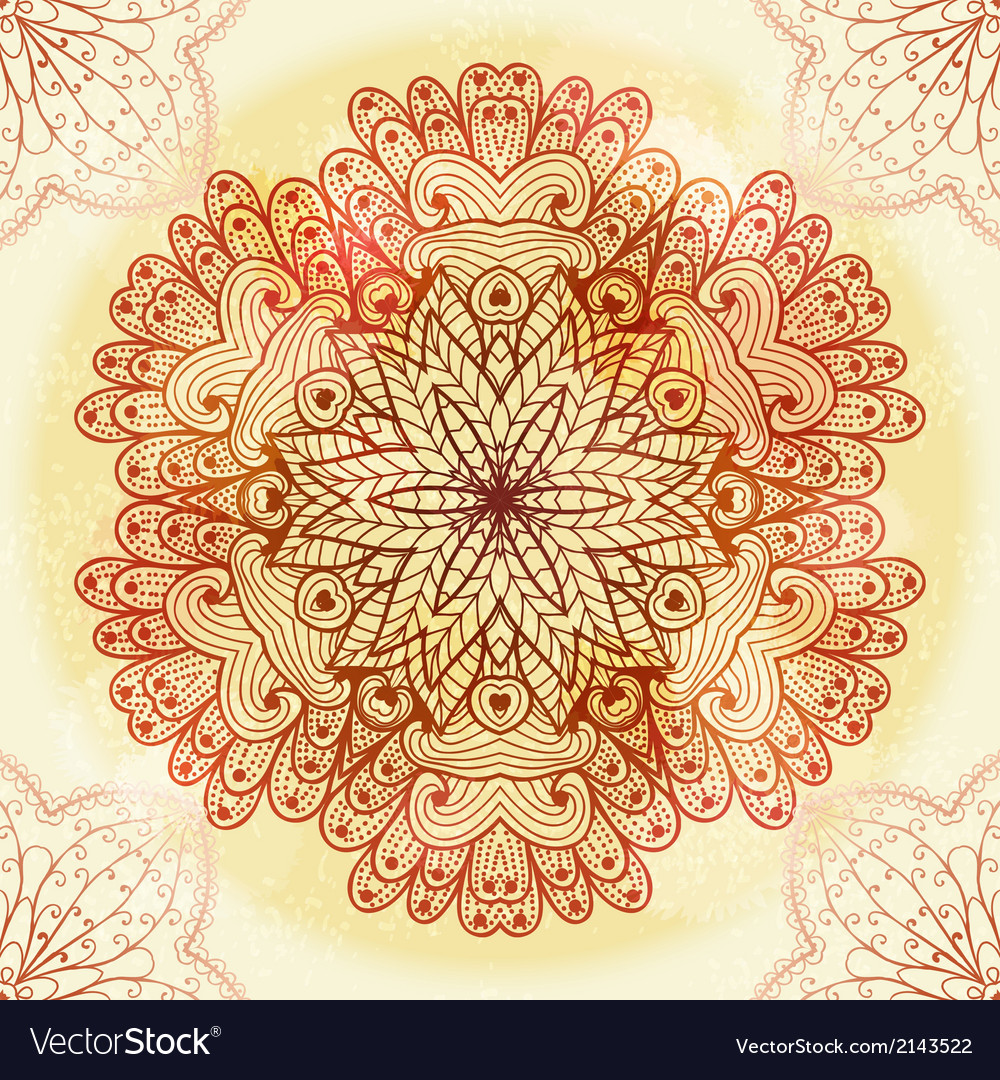 Hand drawn ethnic circular beige ornament vector | Price: 1 Credit (USD $1)