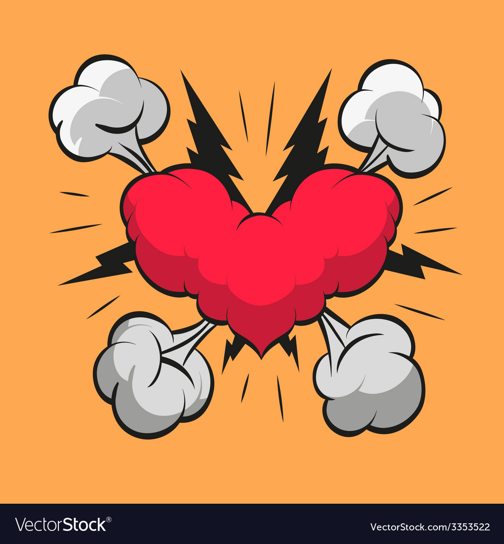 Heart shape boom clouds vector | Price: 1 Credit (USD $1)