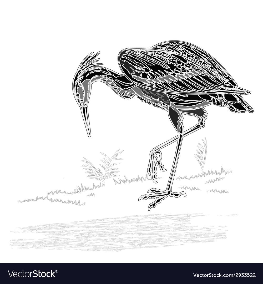 Heron bird vintage engraving vector | Price: 1 Credit (USD $1)