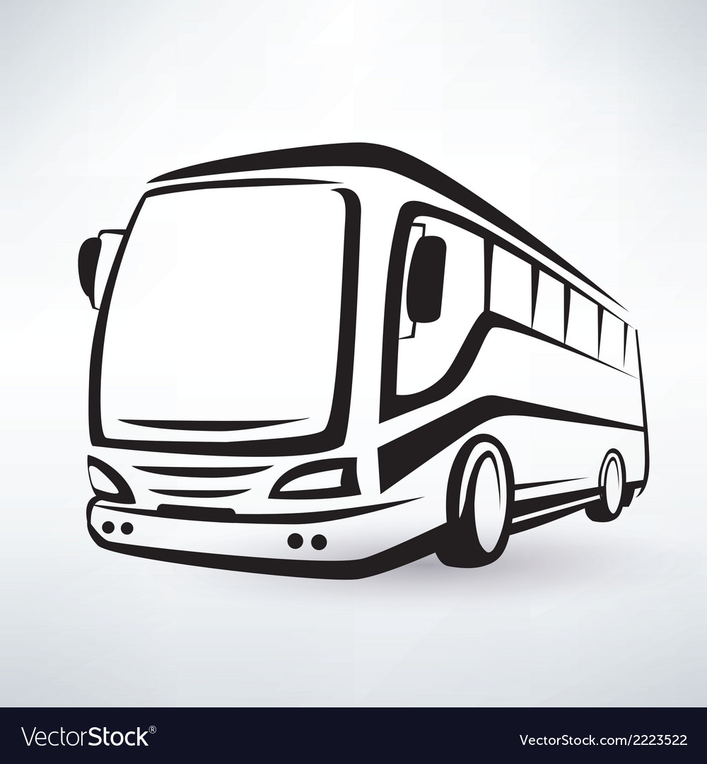 Modern bus symbol outlined icon vector | Price: 1 Credit (USD $1)