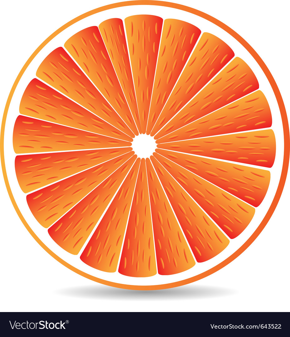 Orange segment isolated on a white vector | Price: 1 Credit (USD $1)
