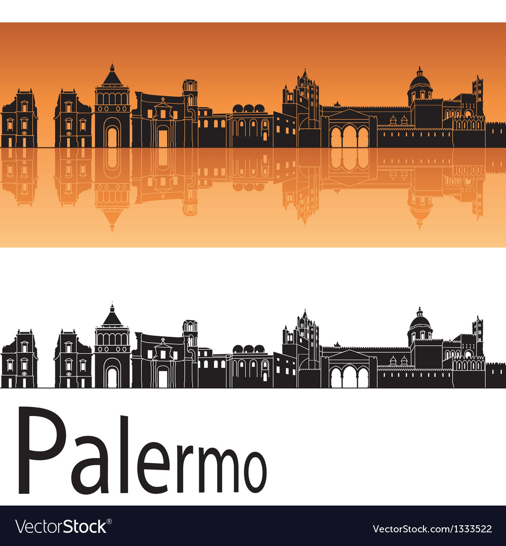 Palermo skyline in orange background vector | Price: 1 Credit (USD $1)
