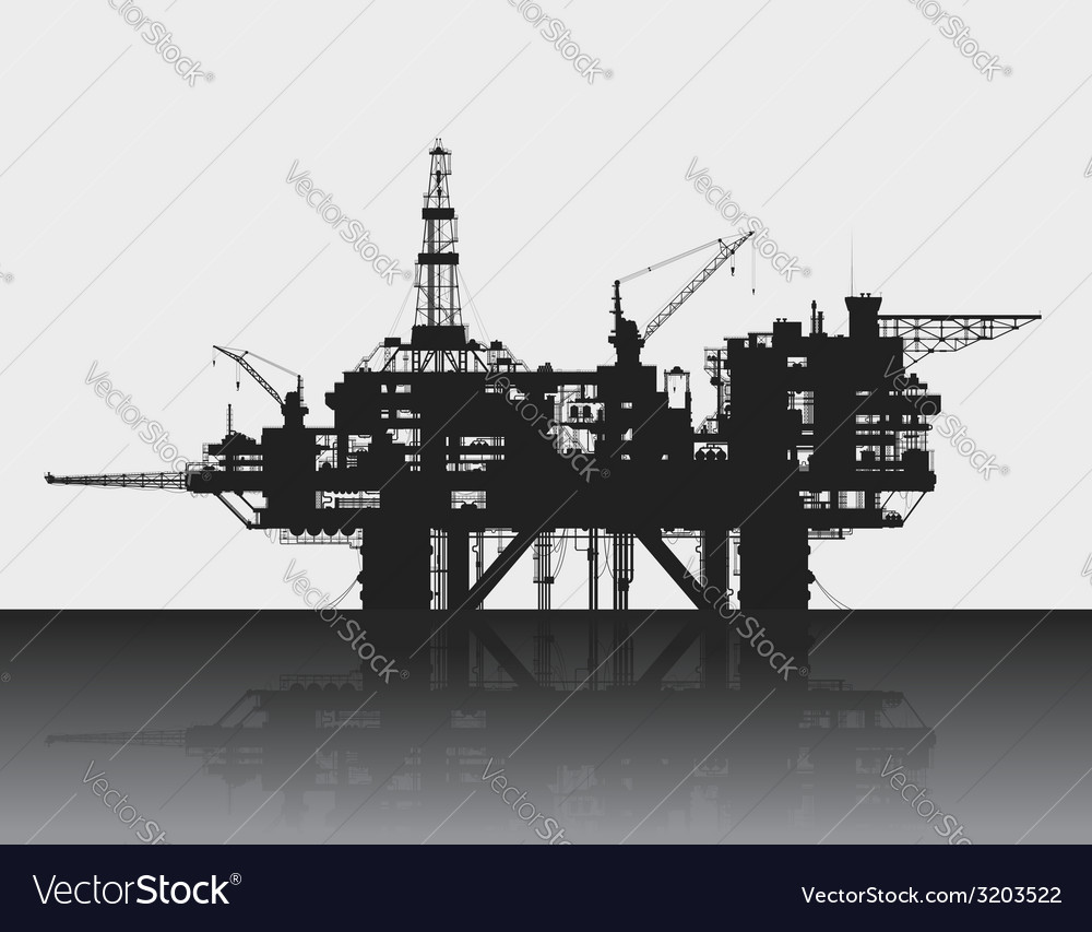 Sea oil rig oil platform in the deep sea detailed vector