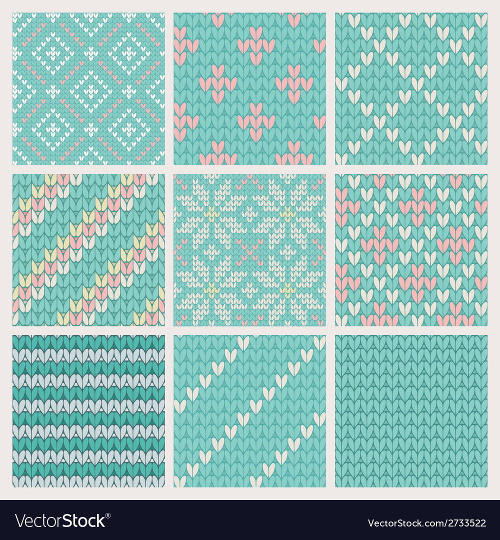 Set of seamless knitting patterns vector | Price: 1 Credit (USD $1)