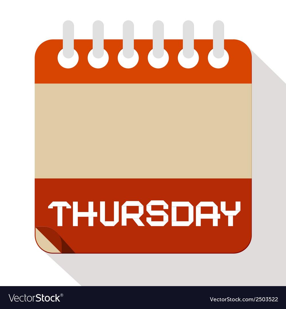 Thursday paper calendar vector   Price: 1 Credit (USD $1)