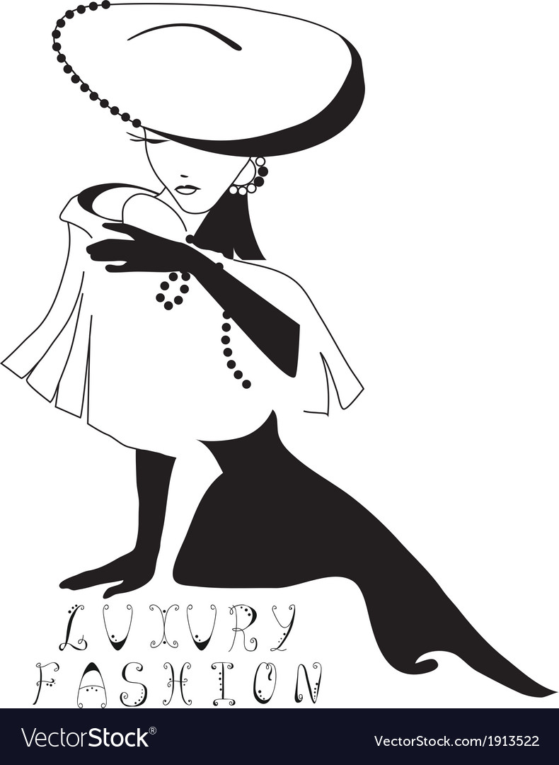 Woman vintage silhouette vector | Price: 1 Credit (USD $1)
