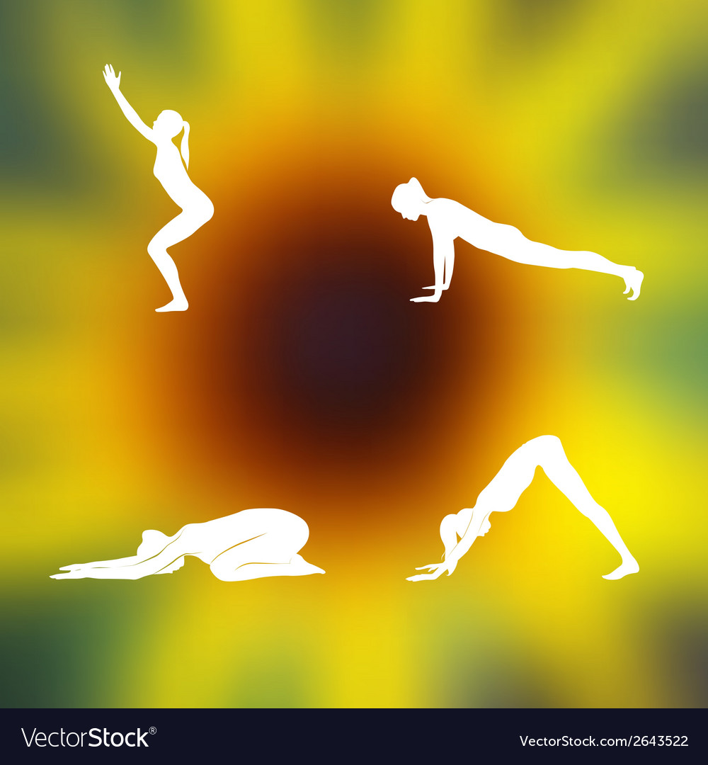 Yoga poses blurred floral background vector   Price: 1 Credit (USD $1)