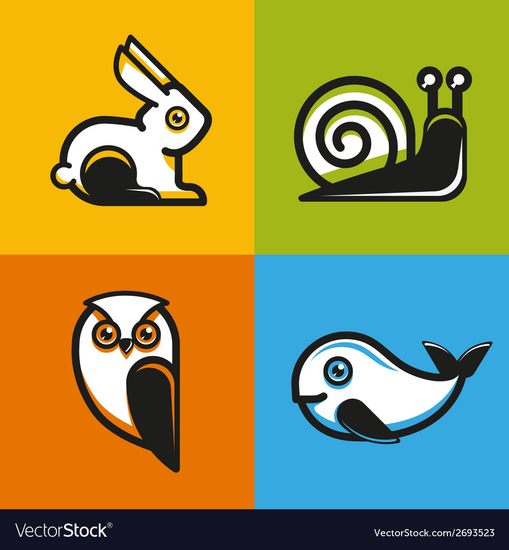 Animal emblems and icons in flat style vector | Price: 1 Credit (USD $1)