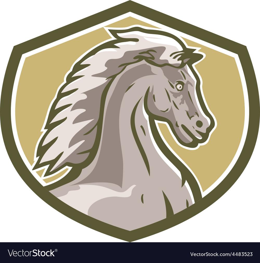 Colt horse head side shield retro vector | Price: 1 Credit (USD $1)