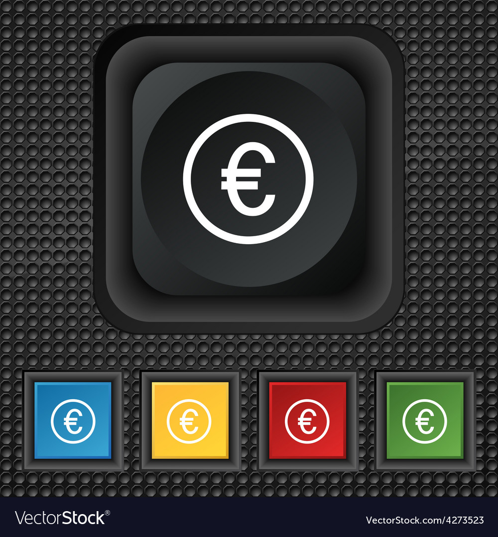 Euro icon sign symbol squared colourful buttons on vector   Price: 1 Credit (USD $1)