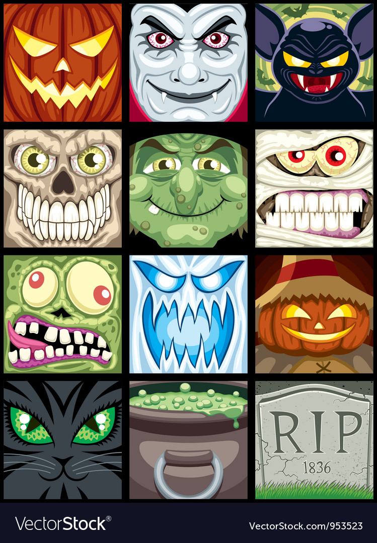 Halloween avatars vector | Price: 5 Credit (USD $5)