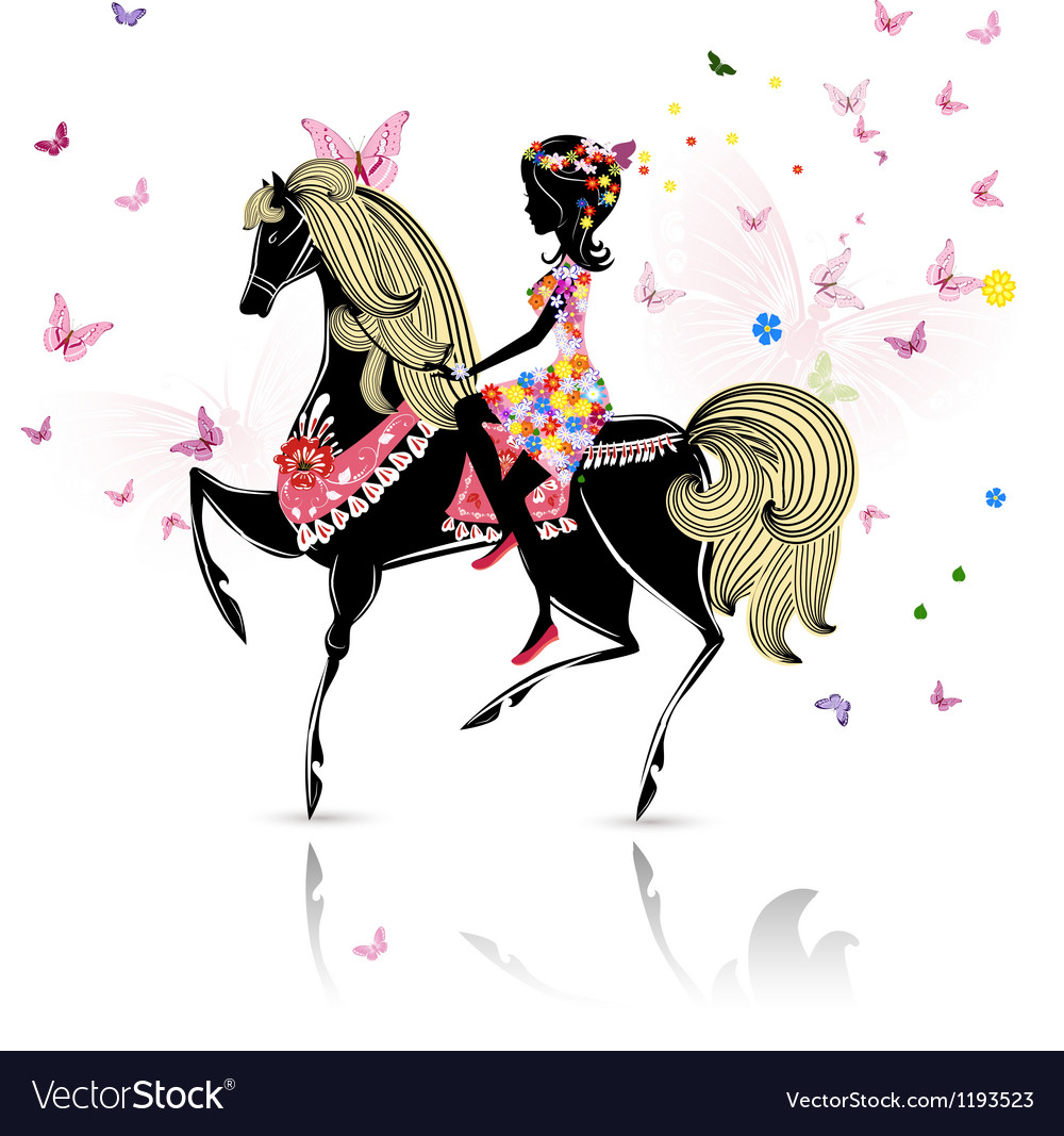 Horse girl vector | Price: 1 Credit (USD $1)